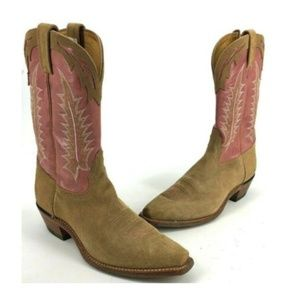 Tony Lama Womens Pink Embroidered Cowboy Boots 120
